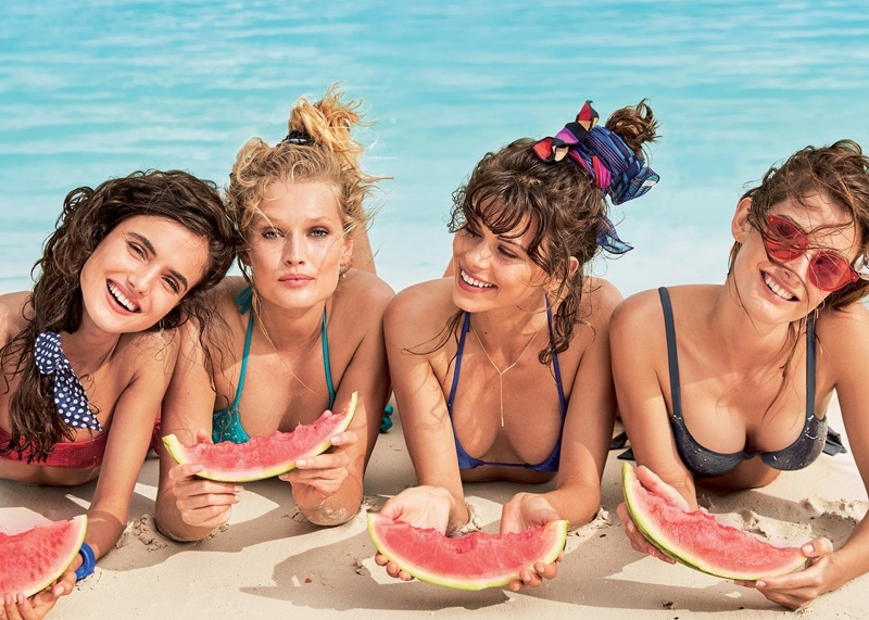 Models eat watermelon in Calzedonia's summer 2017 swimsuit campaign