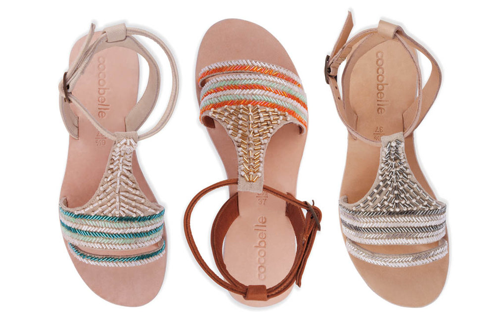 "The St. Jean sandal by COCOBELLE links beads in various shapes and sizes in coordinating colors. The embellished upper (shown in ""Turquoise,"" ""Santa Fe"" and ""Metallic Mix"") with ankle buckle closure has a cushioned leather insole."