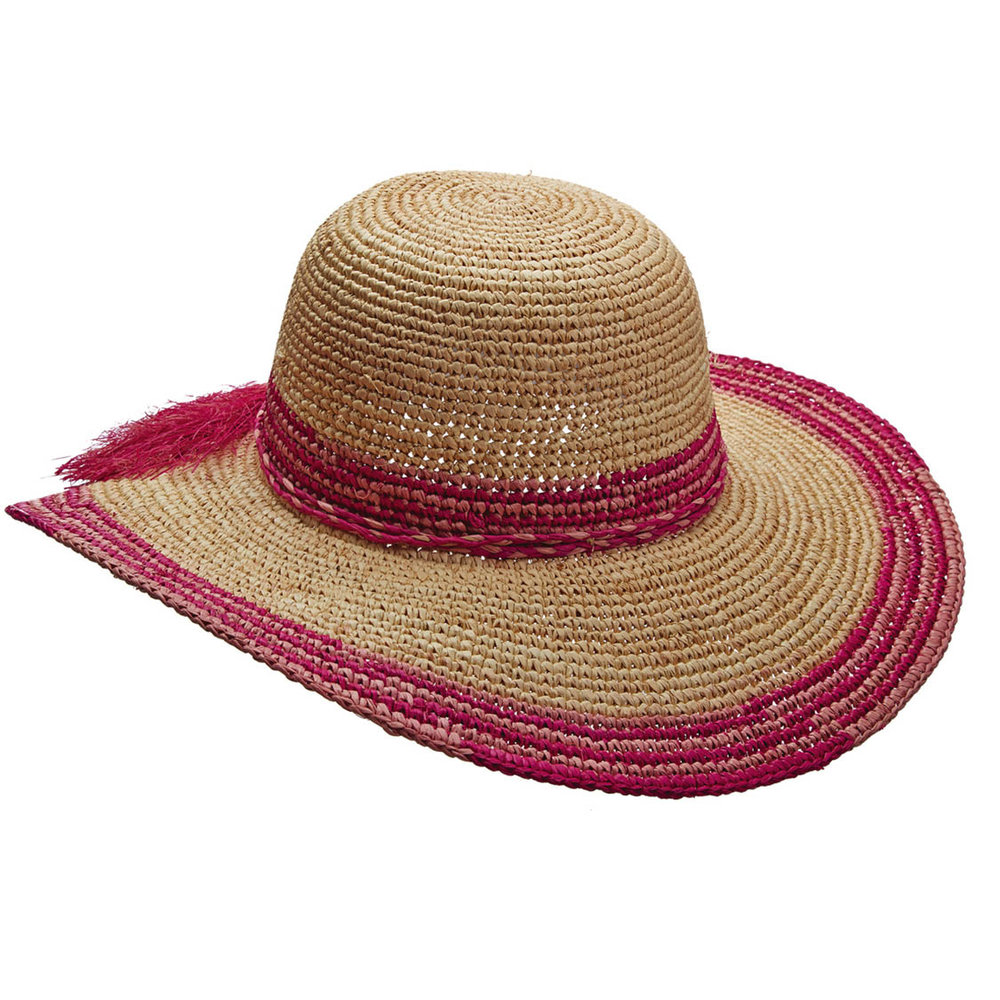 CALLANAN's wide-brimmed straw hat is encircled with pink and fuchsia trim around the brim and crown and finished with a frayed tie. Available in three trim shades: olive, denim and fuchsia.