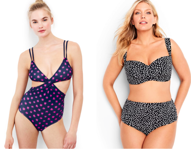 Prices:  $25+   Sizes: 0-24W  Styles offered:  Petite ,  tall ,  plus , and  fuller busts . They also have a selection of swimsuits for women who have had  mastectomies , which are designed with higher necklines and armholes, sewn-in soft cups, and prosthesis pockets (no underwire).   Get the blue and pink swimsuit for  $75  (sizes 0-12) and black and white one for  $65  per piece (sizes 0-26w).