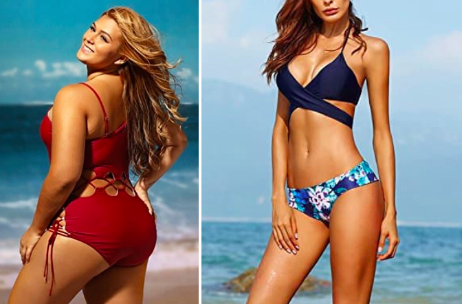 Prices:  $0.01+   Sizes: XXS-8X, 00-38, and 00P-18P   Styles offered:  Plus-size ,  petite , and  juniors .    Get the blue swimsuit for  $12+  (S-XL) and red one for  $23  (S-XXXL)