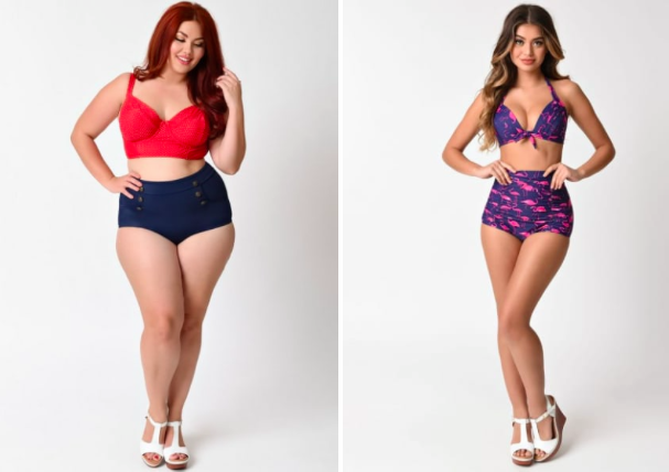 Prices:  $7+   Sizes: 0-22 and XS-4X  Styles offered:  One pieces ,  two pieces ,  high-waisted ,  plus size ,  stripes and dots ,  skirted ,  printed ,  tropical ,  nautical , and  mix and match .   Get the high-waisted navy bottoms for  $38  (available in sizes 2X-4X), red top for  $44 (available in sizes XS-4X) and flamingo bottoms for  $44  (available in sizes XS-XL), and top for  $38  (available in sizes XS-4X )