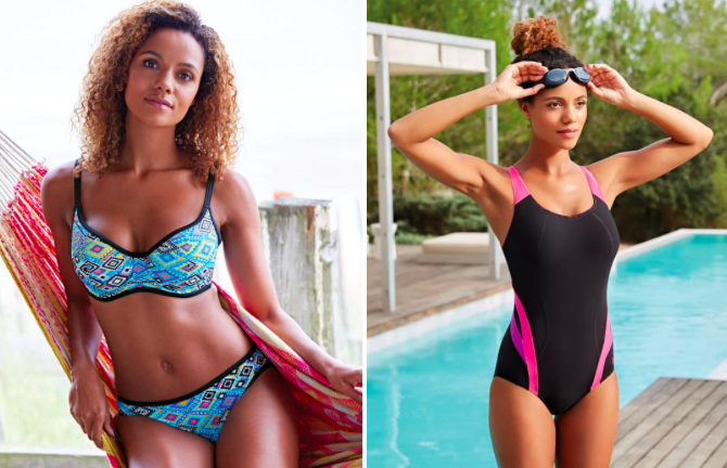 Prices: £32+ Sizes: 28DD-40K Styles offered: Balconettes, bandeaus, halter necks, plunge necks, and activewear. Bravissimo is a UK-based swimsuit company that ships internationally for about $8. All prices are listed in British pounds but you can chat with their team to learn the converted price.  Get the blue top for £32 (available in cup sizes D-HH) and bottoms for £22 (available in sizes XS-XL) or one-piece for £50.