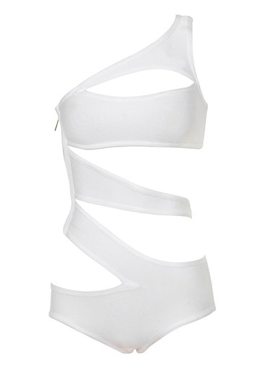 'HAMPTONS'WHITE ONE SHOULDER CUT-OUT ONE PIECE SWIMSUIT   original price:  $105      NOW: $75