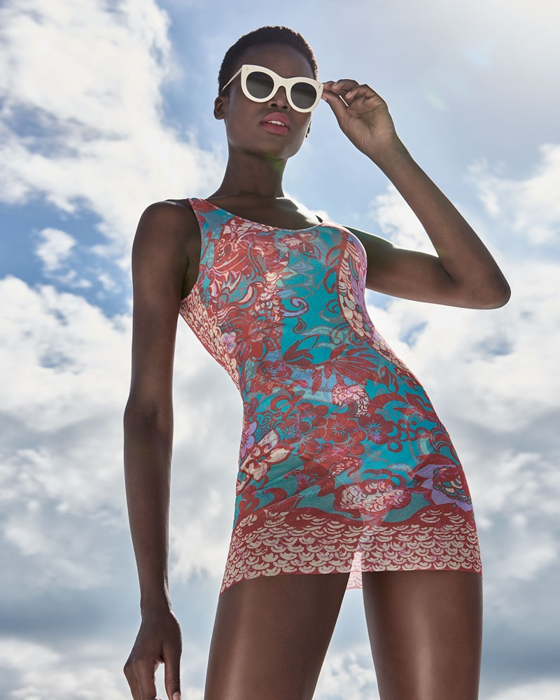 Fuzzy Floral Paisley One-Piece Swimdress with Tulle Overlay