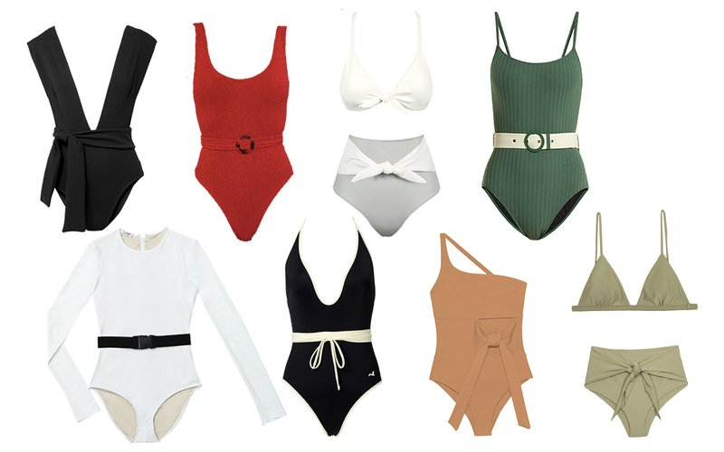 Retro swimsuits have taken on new form this season. Stretching beyond the high-waisted trend of past seasons, swim brands have added a fun, new accessory to the mix: a belt. Whether you opt for a sporty style (i.e. Solid & Striped) or a more feminine silhouette (i.e. new brand, Juillet), there's an option for everyone. Styles are listed clockwise from the top left.