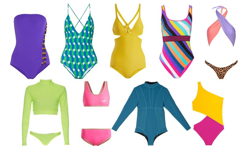 It's just a weekend, so have a little fun. Make a statement at the beach with a graphic neon swimsuit. Color-blocked, graphic patterns, new textures, and pops of leopard will be sure to make you stand out among the more common, muted swimwear palettes around you. Styles are listed clockwise from the top left.