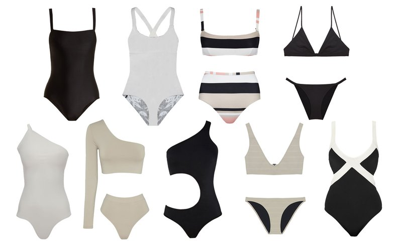 If your style is more minimal, especially at the beach, seamless swimsuits with no ties or frills are your best bet. But maybe step it up a notch and embrace new shapes and patterns in blends of neutral hues. Styles are listed clockwise from the top left.