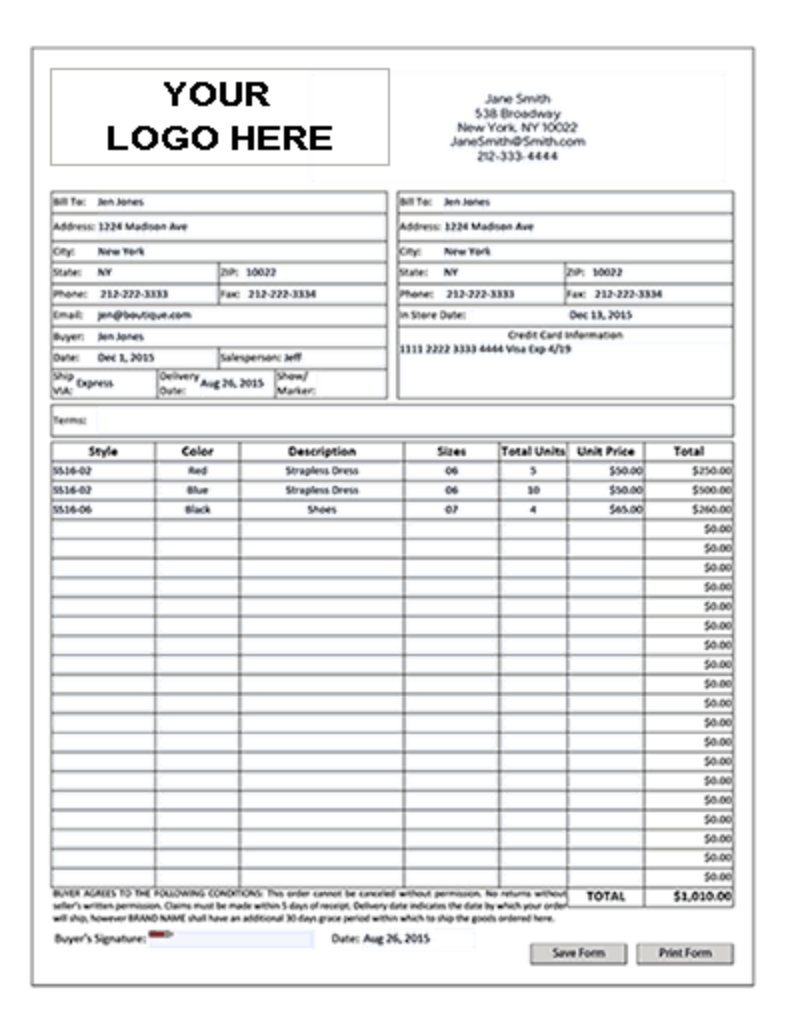 Wholesale Purchase Order Form Template Swim Week Calendar