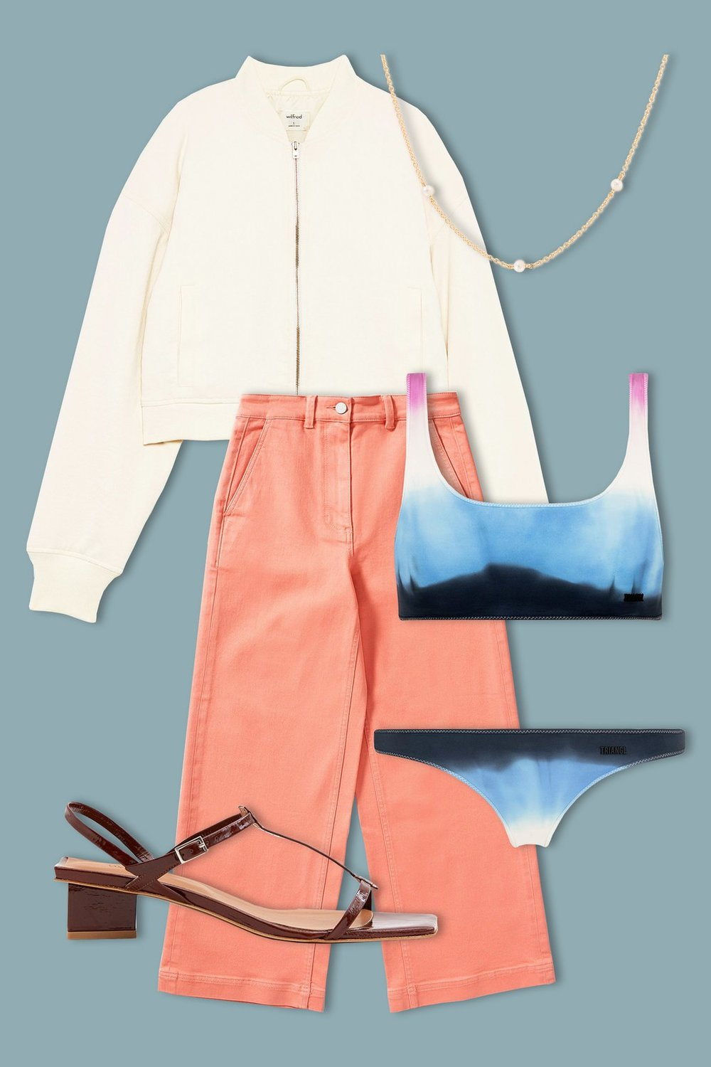 Balance out the crop of a tank-style bikini top with a boxy bomber jacket and a high-waisted pant. Keep accessories minimal—strappy sandals with a subtle heel and a barely-there chain necklace will do the trick.  Triangl Malibu Blues Set, $89,  Triangl ; Wilfred Clovis Jacket, $178,  Aritzia ; Everlane The Wide Leg Crop Pant, $68,  Everlane ; By Far Shoes Krista Patent Leather Sandal In Brown, $370,  Need Supply ; Mejuri Trio Pearl Necklace, $225,  Mejuri