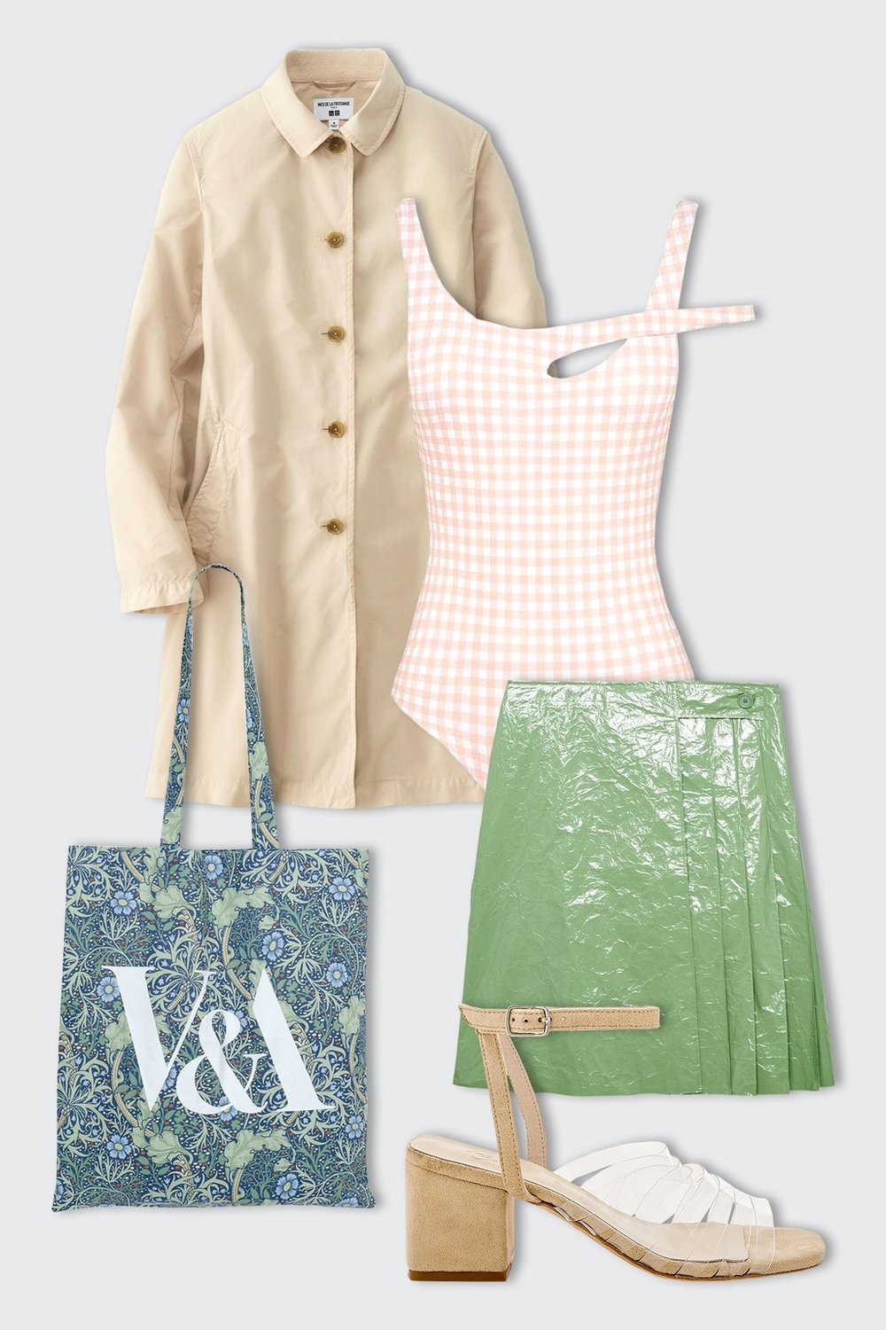 Build an outfit around a particular swim trend—for instance: Unexpected cutouts and silhouettes allow for some pretty inventive, arty outfits... Pair a checked one-piece with a patent mini skirt in a complimentary hue. Throw on some clear sandals and a printed tote, and you're good to go.  Skye & Staghorn Isodore Full Piece, $61.23,  Skye & Staghorn ; Uniqlo Women IDLF Soutien Collar Coat, $49.90,  Uniqlo ; COS Coated Crinkle Pleated Wrap Skirt, $135,  COS ; Dr. Martens Vibal Sandal, $105,  REVOLVE ; V&A Seaweed Tote Bag, $11.41,  V&A Shop