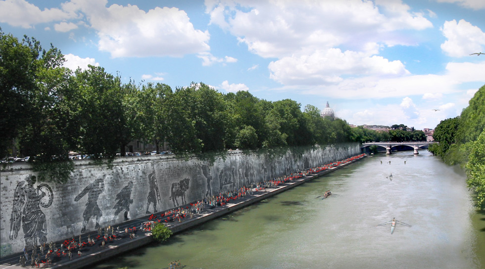 Embankment along the Tiber with procession of historical figures created with templates and power washing.