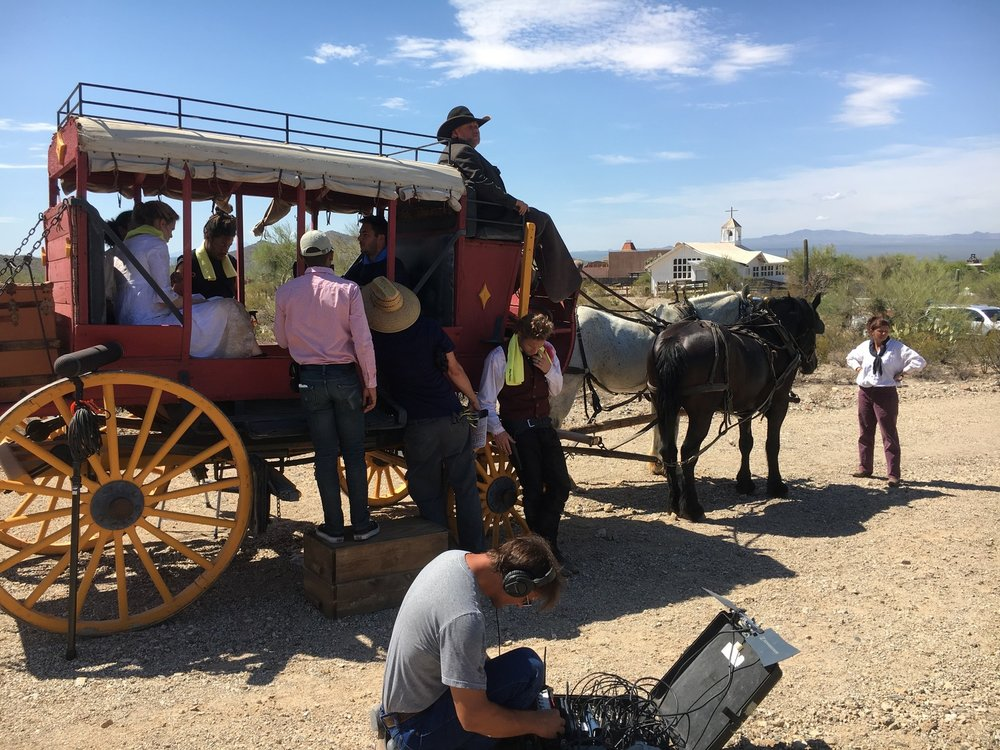 Filming a stagecoach!