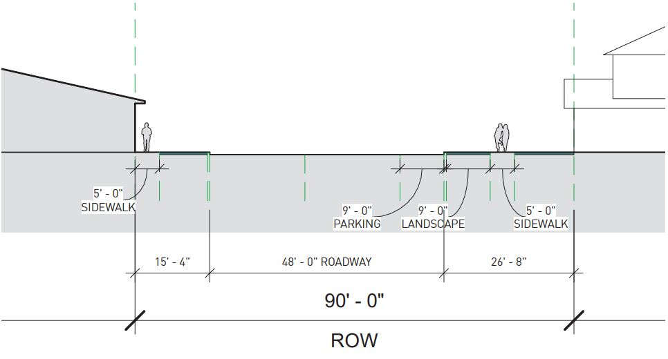 Potential road re-design for Norwich Street. Source: CNU Savannah.