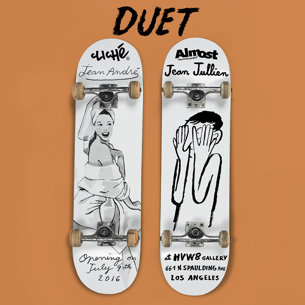 almost skateboard x jean jullien and cliche skateboards x jean andre duet art show