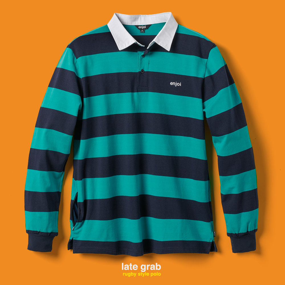 enjoi late grab polo shirt stripes long sleeve