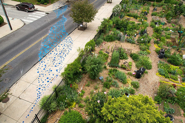 Rain art installation visualizing the urban water cycle. Photo credit: Philadelphia Water Department