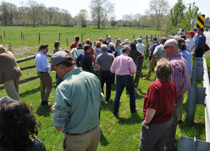 Conference attendees viewing best management practices installed at the Simper Farm in the Red Clay Creek watershed in Pennsylvania. Photo Credit: Eliza Bernardini