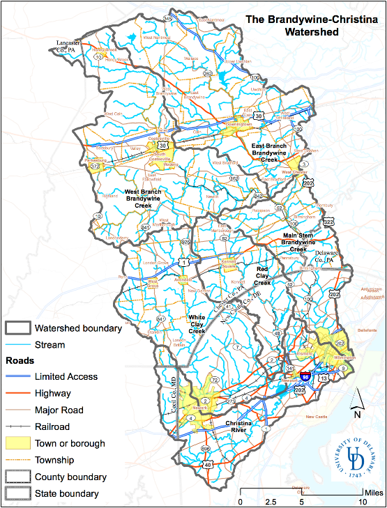 A map showing the Brandywine-Christina Watershed and sub watersheds.