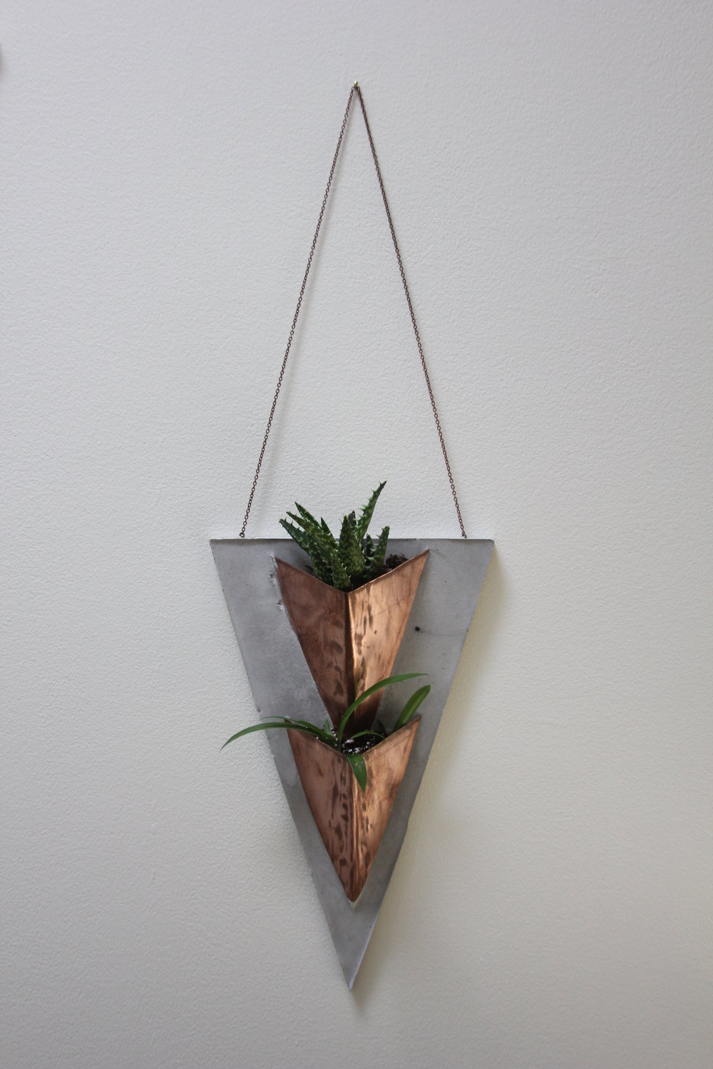 """Ternion II""    Copper + Cement Planter    7"" w x 23"" h    $85 Made to Order"