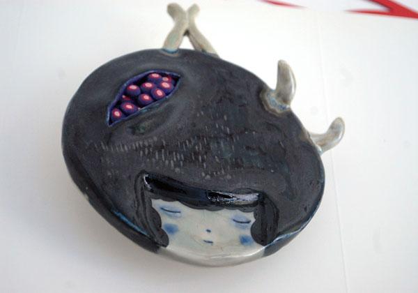 ceramic, glaze, gouache 5x6