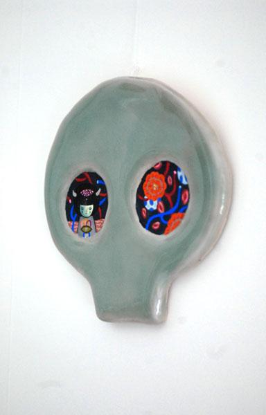 ceramic, glaze, gouache 5x5