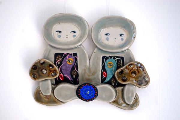 ceramic, glaze, gouache 6x5