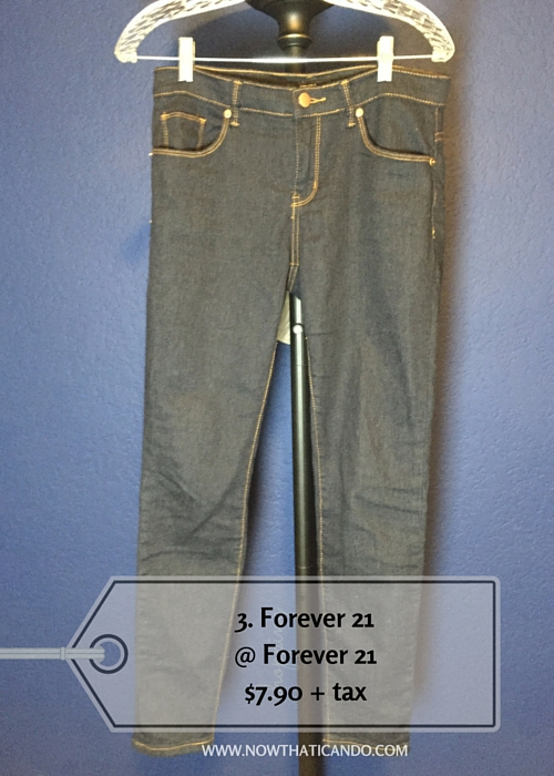Dark-wash skinny jeans, mid-rise, Forever 21 @ Forever 21 (Exact) -- $7.90 + tax