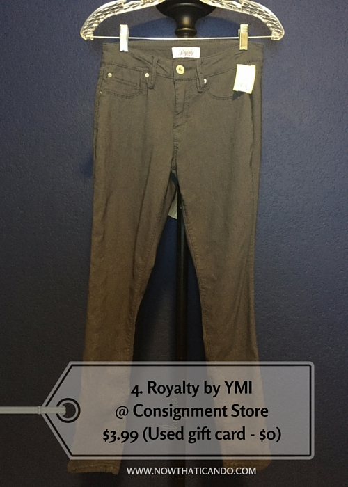 Dark gray skinny pants, Royalty by YMI @ Consignment Store (Similar) -- $3.99 (Used gift card - $0)