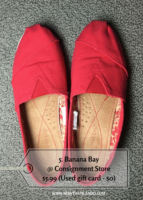 Red Toms-style slip-ons, Banana Bay @ Consignment Store (Similar) -- $5.99 (Used gift card - $0)
