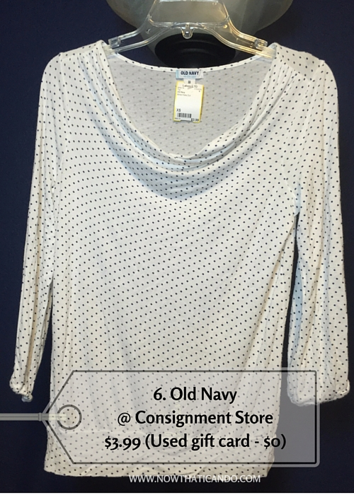 3/4 sleeve polka dot cowel neck top, Old Navy @ Consignment Store (Similar) -- $3.99 (Used gift card - $0)