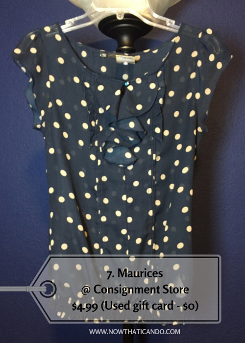 Cap sleeve polka dot chiffon blouse, Maurices @ Consignment Store (Similar) -- $4.99 (Used gift card - $0)