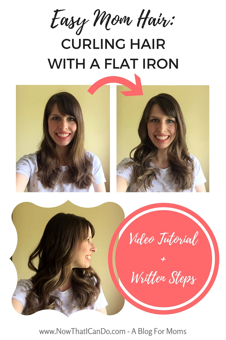 How I use a flat iron to style my hair in less than 13 minutes and keep it cute for the next 2-3 days. Video tutorial + written steps for the technique I use to curl my hair with my flat iron (straightener). // Mom hairstyle // Easy // Tutorial // How-to