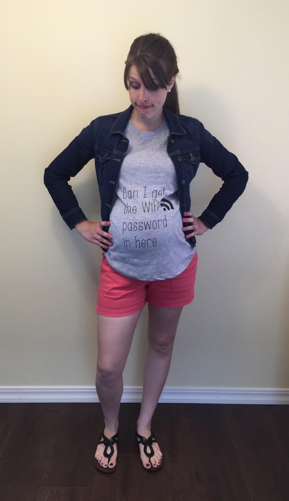 Colorful shorts, tee, graphic tee, denim jacket, ponytail  (2).jpg