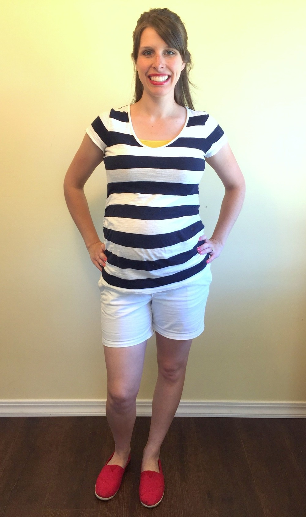 White shorts, striped tee, flats, half-up (2).jpg