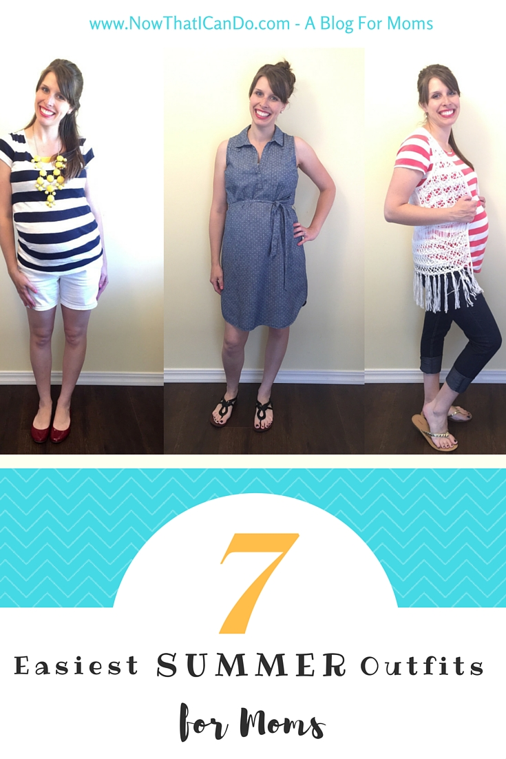 Summer is here! Here are 7 basic mom outfits to enjoy the warm weather. Easy outfit patterns to use with the clothes in your own wardrobe. // Mommy style // Budget fashion // Summertime // Simple // Hairstyles
