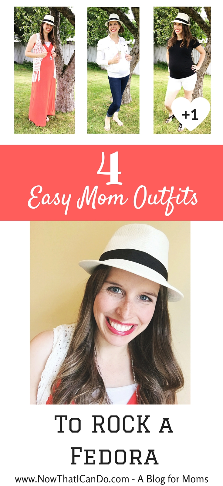 No more excuses! This mommy blogger shares how she put together four simple outfits to style a fedora- and she had never worn one before in her life! Moms can have fun with hats too. Straw hats are hugely popular right now, so head over to get inspired and see her selection of affordable ($10-$20) fedoras. // Mom Fashion // Mommy Style // Summer Straw Hat // How to // Inspiration // Budget friendly // What to wear