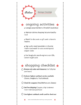 Online Savings Checklist