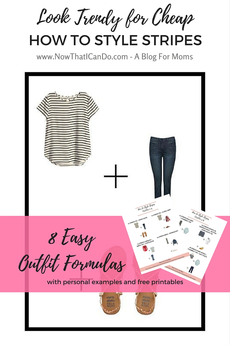 "If you're a mom wanting to look on-trend on a budget, here's the next part in the ""Look Trendy for Cheap"" series. Learn what stripe patterns are called, which are trending, which are classics, and how to pair them with other items in your closet. Lots of examples for outfits including personal ones and a special Pinterest board with over 90 pins to provide examples tailored for moms. // Mom fashion // What to wear with striped tee // Breton stripes // awning stripes // Style guide //"
