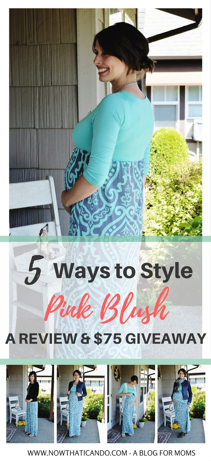 5 ways to style one maternity maxi dress and shows how it looks prior to pregnancy and during the second and third trimesters. // Ways to wear spring & summer maxi dress // Mom fashion // How to style maxi dress // Feminine maternity #outfitideas #fashion #maternity #pregnancy