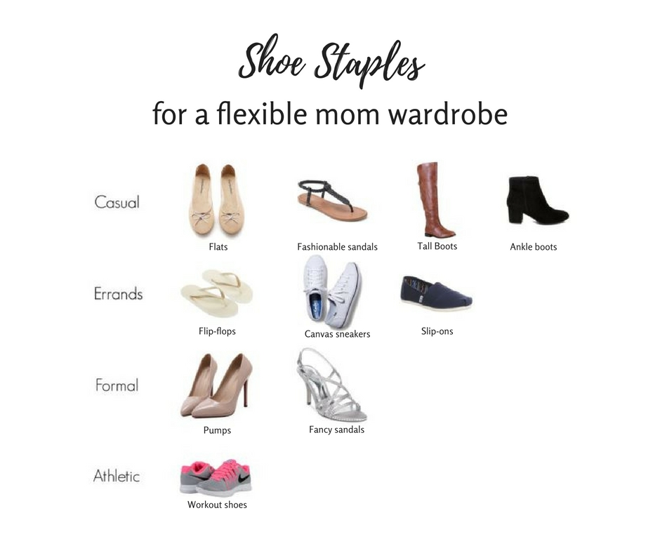 Shoe staples for a flexible mom wardrobe: Ever feel like you don't have the right shoes to go with an outfit? Here are the basic shoe categories a mom should consider owning to achieve an optimally flexible and versatile wardrobe! Click through for more information in the blog post, as well as suggestions for additional shoes to consider adding after the basics.