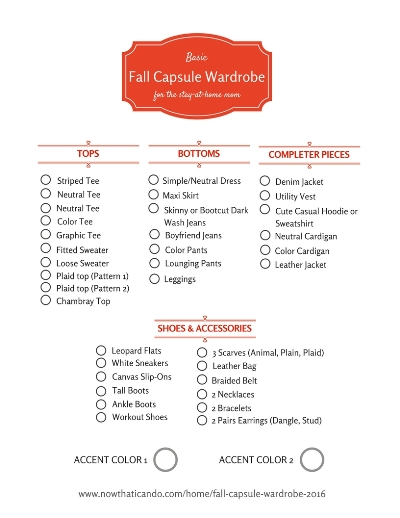 Fall Capsule Wardrobe Checklist