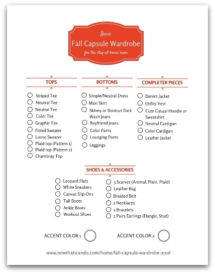 Checklist for a simple fall capsule wardrobe specifically designed for stay-at-home moms. Click through to see images of the clothing pieces.