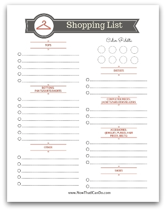 Download a free printable shopping list to keep your wardrobe needs organized and make your shopping smarter!