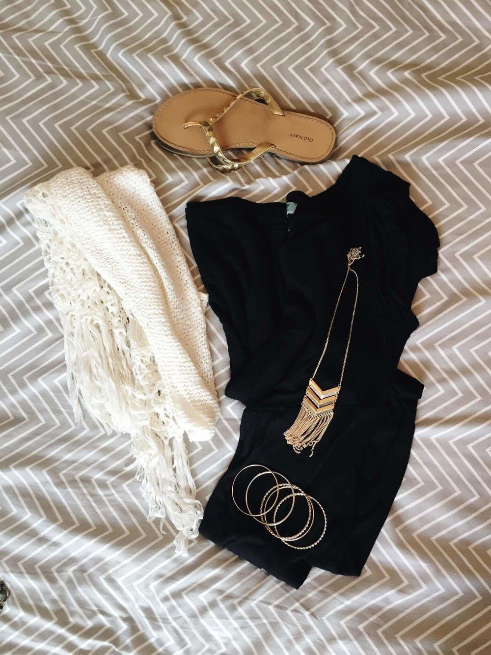 Dress + Crochet Vest + Sandals