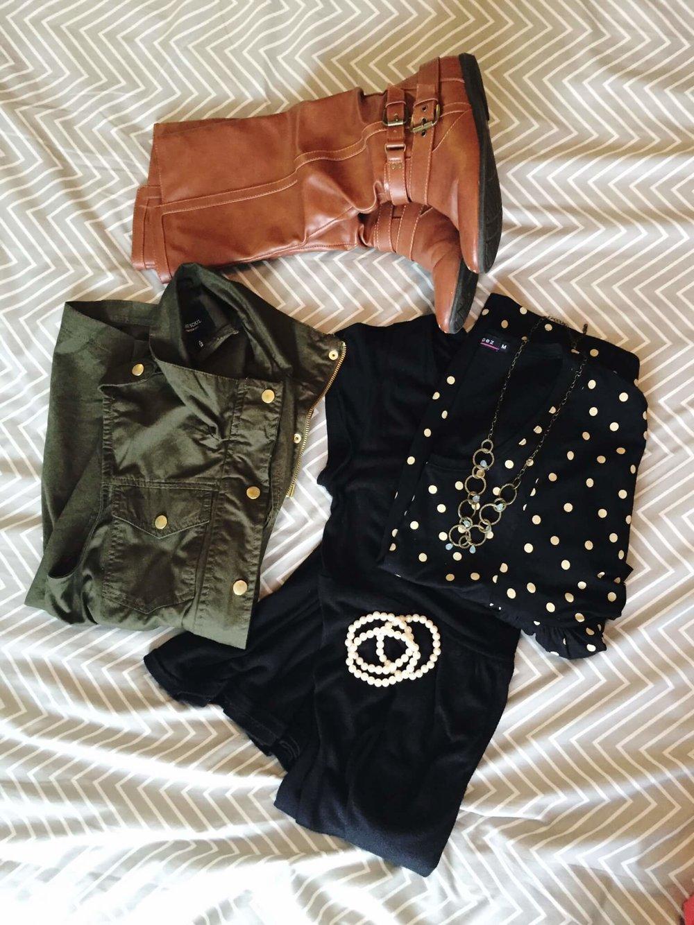 Dress + Tee + Utility Vest + Boots