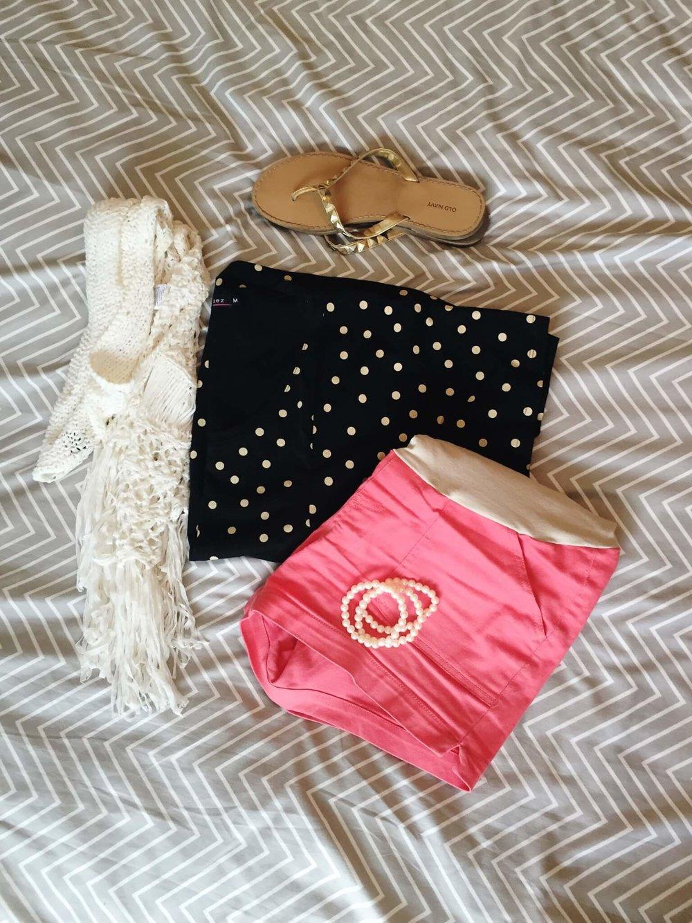 Tee + Crochet Vest + Shorts + Sandals