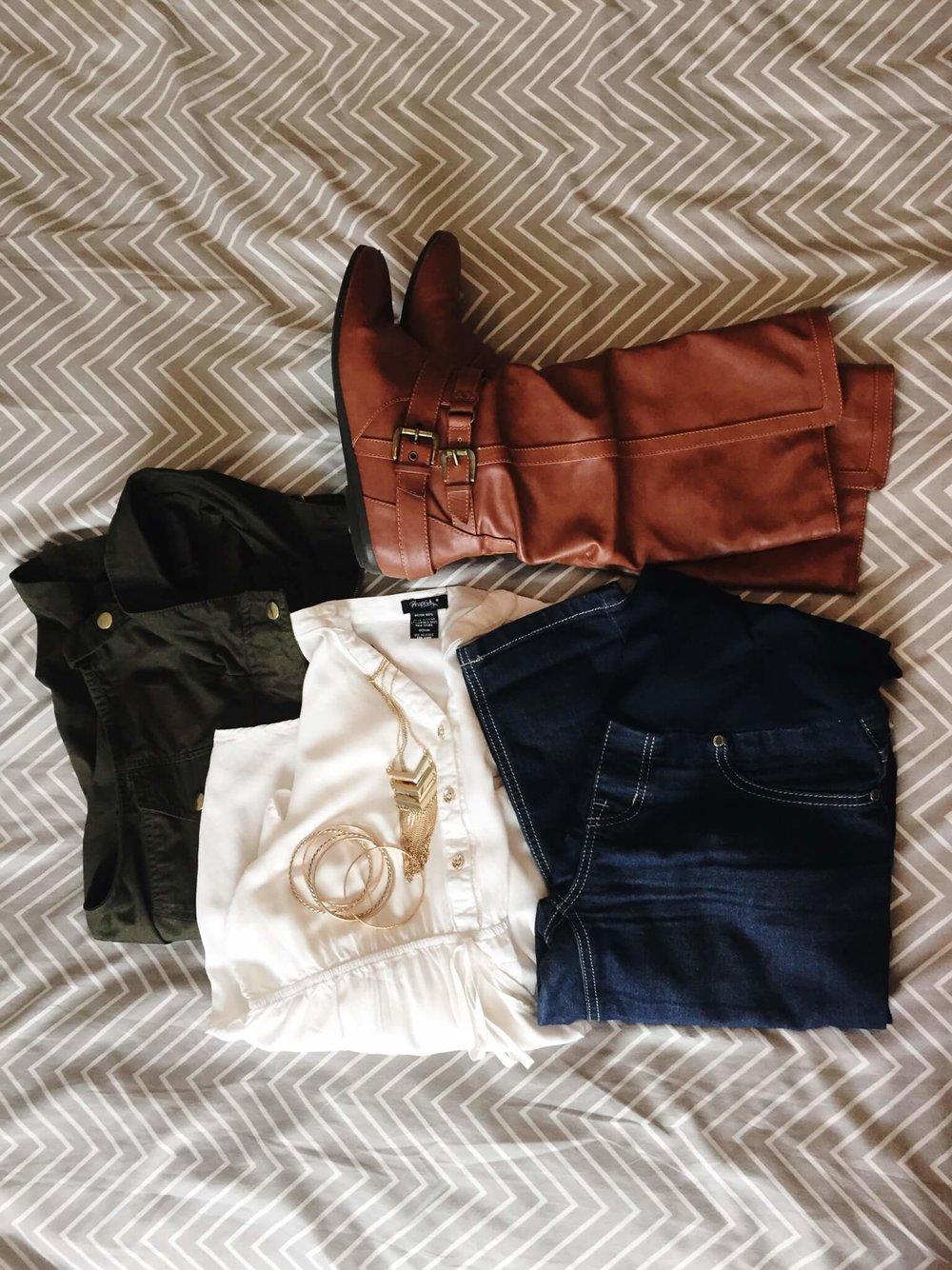 Blouse + Utility Vest + Jeans + Boots