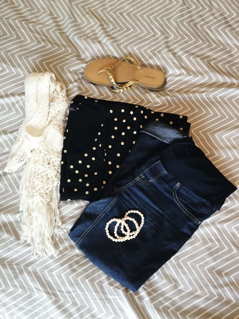 Tee + Jeans + Crochet Vest + Sandals