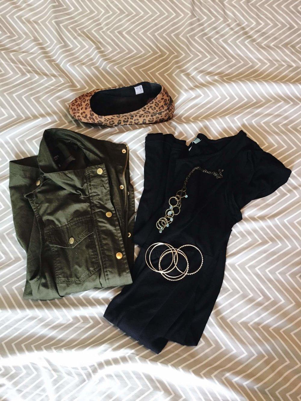 Dress + Utility Vest + Flats